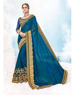 Wedding Wear Blue Georgette Saree  - 17988