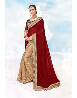 Maroon & Cream Georgette Half & Half Saree  - 17990