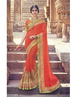Party Wear Orange Georgette Saree  - 17992