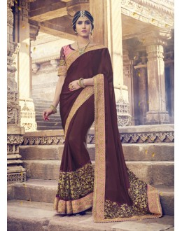Ethnic Wear Brown Georgette Saree  - 17993