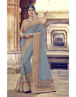 Traditional Grey Georgette Saree  - 17995