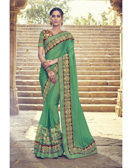 Wedding Wear Green Georgette Saree  - 17997