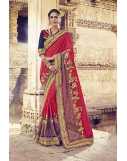 Ethnic Wear Red Georgette Saree  - 17998