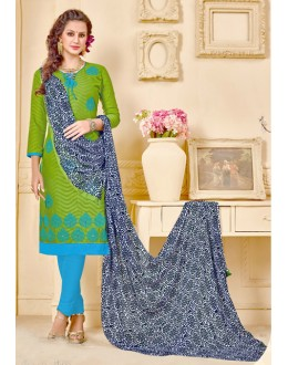 Brasso Cotton Green Colour Salwar Suit - 18015