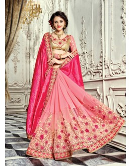 Festival Wear Pink Georgette Saree  - 18022