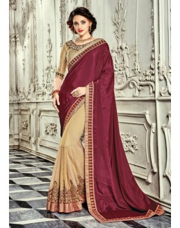 Party Wear Maroon & Cream Georgette Saree  - 18023