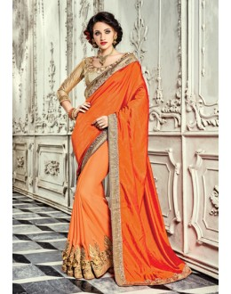 Ethnic Wear Orange Georgette Saree  - 18024
