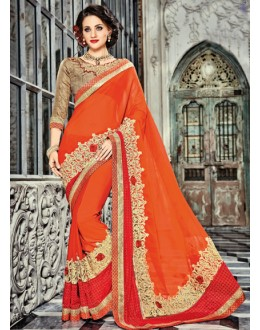 Designer Orange Georgette Saree  - 18025