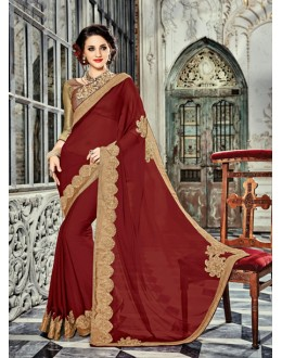 Traditional Maroon Georgette Saree  - 18027
