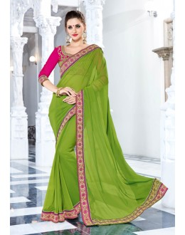 Party Wear Green Georgette Saree  - 18031