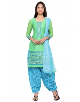 Festival Wear Green Cotton Patiyala Suit - 18037