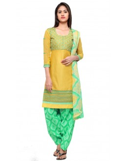 Office Wear Yellow Cotton Patiyala Suit - 18038