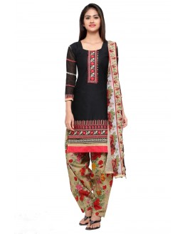 Festival Wear Black Cotton Patiyala Suit - 18039
