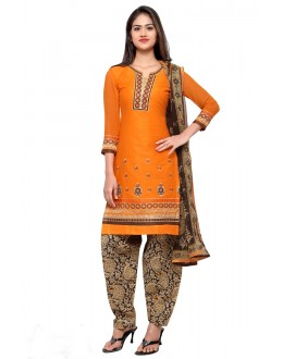 Ethnic Wear Orange Cotton Patiyala Suit - 18041