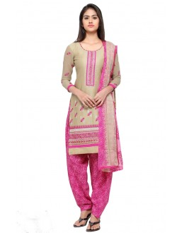 Festival Wear Beige Cotton Patiyala Suit - 18042