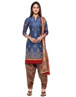 Party Wear Blue Cotton Patiyala Suit - 18043