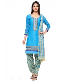 Office Wear Blue Cotton Patiyala Suit - 18044