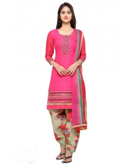 Office Wear Pink Cotton Patiyala Suit - 18045