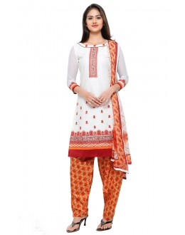 Ethnic Wear Off White Cotton Patiyala Suit - 18046