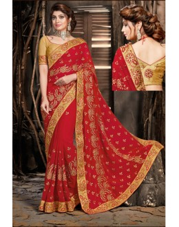 Party Wear Red Georgette Saree  - 18059