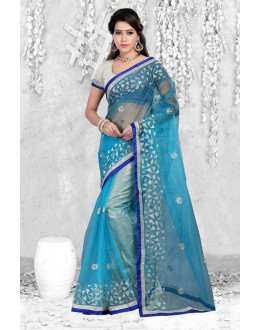Party Wear Blue Bright Net Saree  - 18061