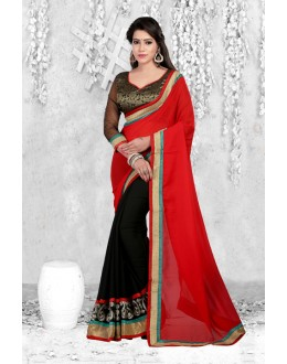 Ethnic Wear Red & Black Georgette Saree  - 18063