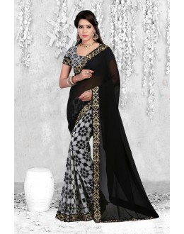 Multi-Colour Georgette Half & Half Saree  - 18064