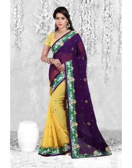 Party Wear Multi-Colour Chiffon Saree  - 18066
