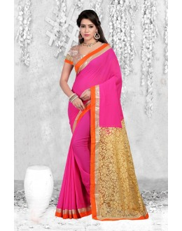 Party Wear Pink Net Brasso Saree  - 18067