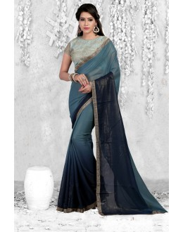 Party Wear Multi-Colour Georgette Saree  - 18068
