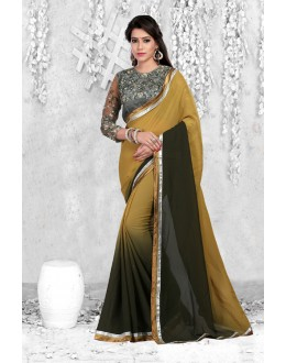 Traditional Chickoo & Black Georgette Saree  - 18069