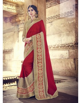 Festival Wear Red & Golden Embroidery Saree  - 18073