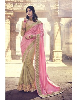 Traditional Pink & Golden Embroidery Saree  - 18076