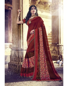 Party Wear Maroon Embroidery Saree  - 18079