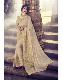 Traditional Beige Knitting Saree  - 18084