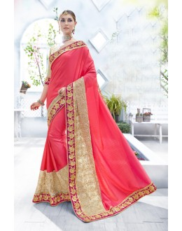 Traditional Pink Two-Tone Satin Saree  - 18095