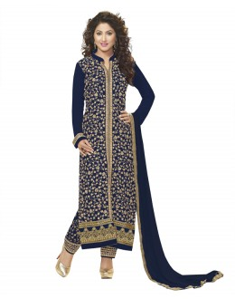 Hina Khan In Navy Blue Georgette Salwar Suit - 18343