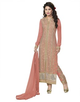 Hina Khan In Pink Pure Georgette Salwar Suit - 18344