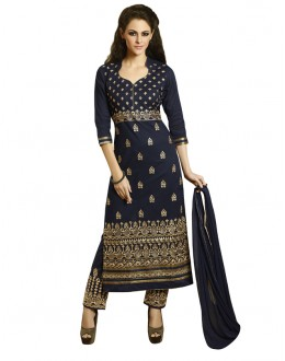 Festival Wear Navy Blue Pure Cotton Salwar Suit - 18345