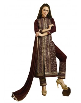 Ethnic Wear Dark Brown Pure Cotton Salwar Suit - 18346
