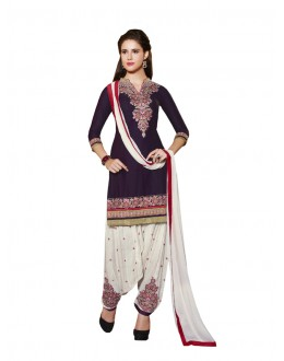 Festival Wear Dark Purple Pure Cotton Patiyala Suit - 18354