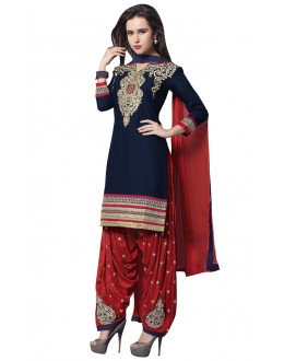 Party Wear Navy Blue Pure Cotton Patiyala Suit - 18356