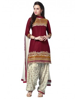 Maroon Colour Pure Cotton Embroidery Patiyala Suit - 18357