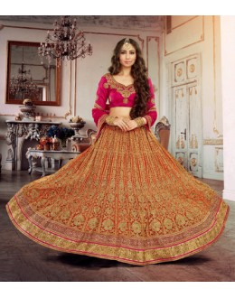 Bridal Wear Orange Square Net Lehenga Choli - 18374