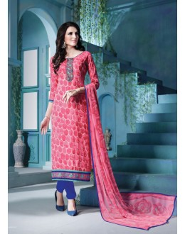 Festival Wear Pink Cambric Cotton Salwar Suit - 18386
