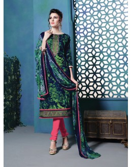 Office Wear Multi-Colour Cambric Cotton Salwar Suit - 18387