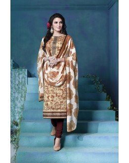 Festival Wear Cream Cambric Cotton Salwar Suit - 18388