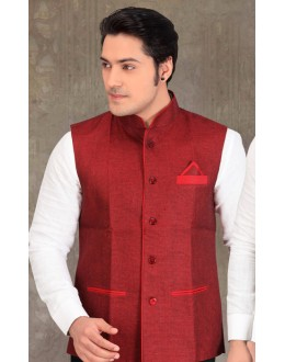 Party Wear Readymade Red Waistcoat For Men - 18403