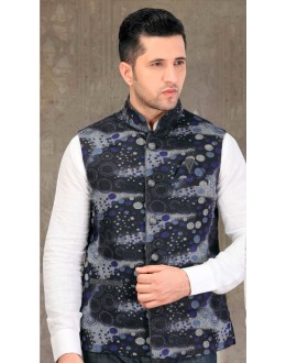 Party Wear Readymade Multi-Colour Waistcoat For Men - 18419