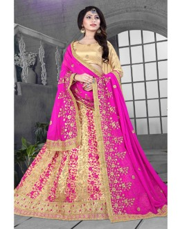 Bridal Wear Rani Colour Net Lehenga Choli - 18424